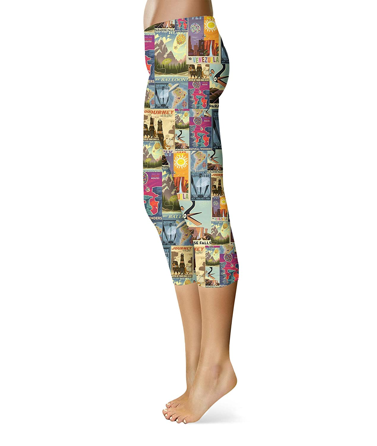 Capri Length Mid//High Waist Queen of Cases Pixar Up Travel Posters Sport Leggings