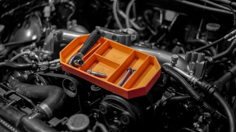 Grypmat | Non-Slip Flexible Orange Tool Tray | Tool Box Organizer | Socket Organizer | Tool Holder | Tool Mats | No Magnets | Easy Clean Up | As Seen On Shark Tank (Small) by Grypshon (Image #3)