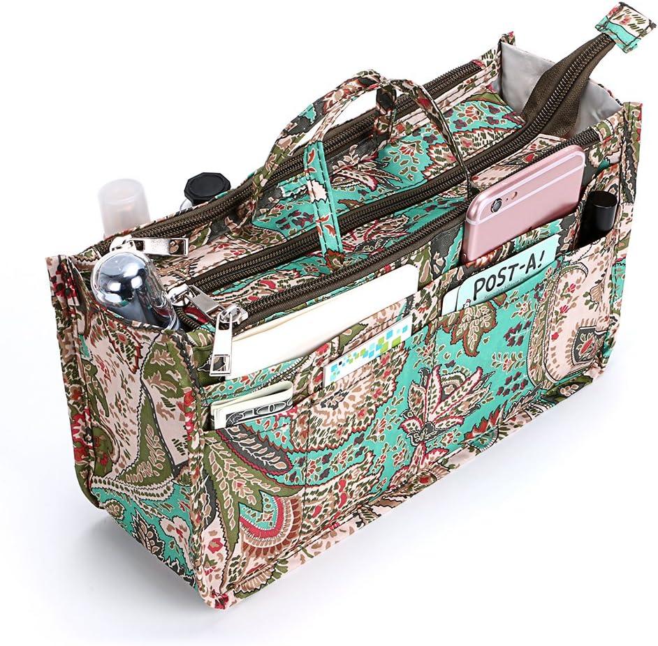 IGNPION - Bolsa organizadora de 13 bolsillos con cierre de cremallera y asa (29 x 16 x 9 cm) (flor de pavo real)