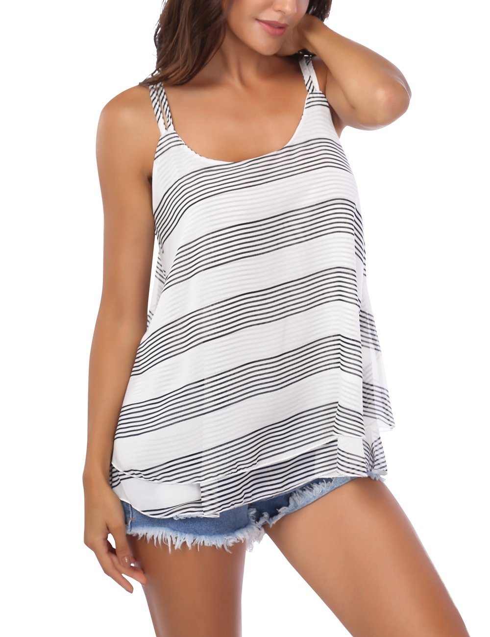 BaiShengGT Sleeveless Tops for Women, Women's Flowy V Neck Strappy Loose Tank Tops Cami Blouse Striped White L