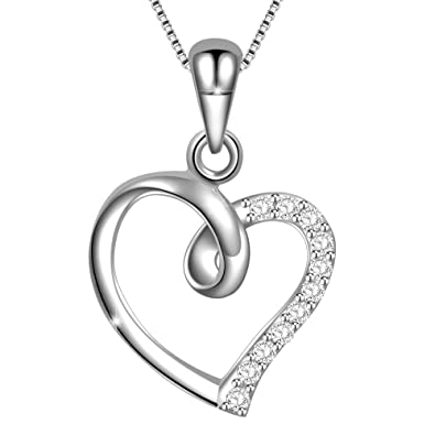 5f8ae75c4a3d1 Dawanza-Cadeau Femme-Collier Femme en Argent 925 et Zirconium  Cubique-Pendentif en