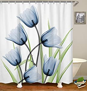 LIVILAN Blue Tulip Shower Curtain, Floral Fabric Bathroom Curtains Set with Hooks Flowers Bathroom Decor 72x72 Inches Machine Washable Decorative Creative Pattern