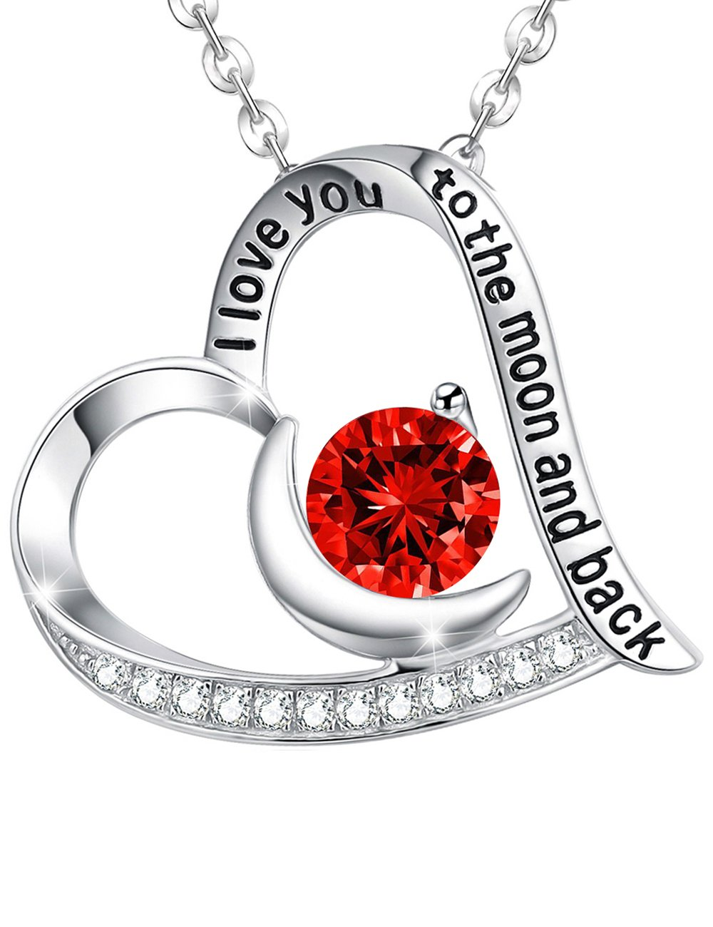 July Birthstone LC Red Ruby Necklace Fine Jewelry I Love You to the Moon and Back Heart Moon pendant Birthday Gifts for Women Wife Mom Grandma Teen Girls Sterling Silver Jewelry