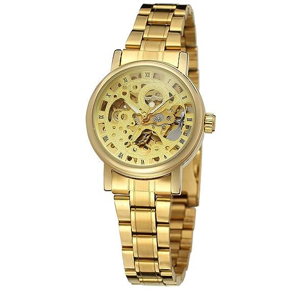 sweetbless pulsera automático reloj de pulsera tono de oro de las mujeres de número romano para