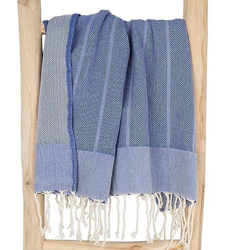 Fouta Toalla Hammam Playa XXL Azul, Original ZusenZomer | Lujoso Modelo Extra Grande