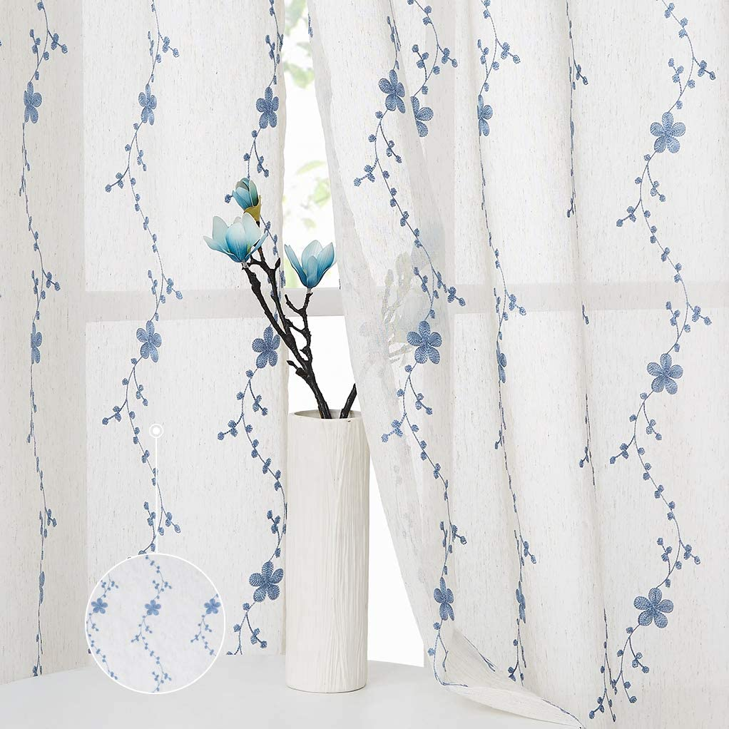 Ronaldecor Floral Embroidery Linen Sheer Curtain Panels Botanical Drapes Rod Pocket Window Treatment Voile Curtain, Living Room/Bedroom Drapes, 42 Inch Wide x 63 Inch Long, 2 Panels, Blue