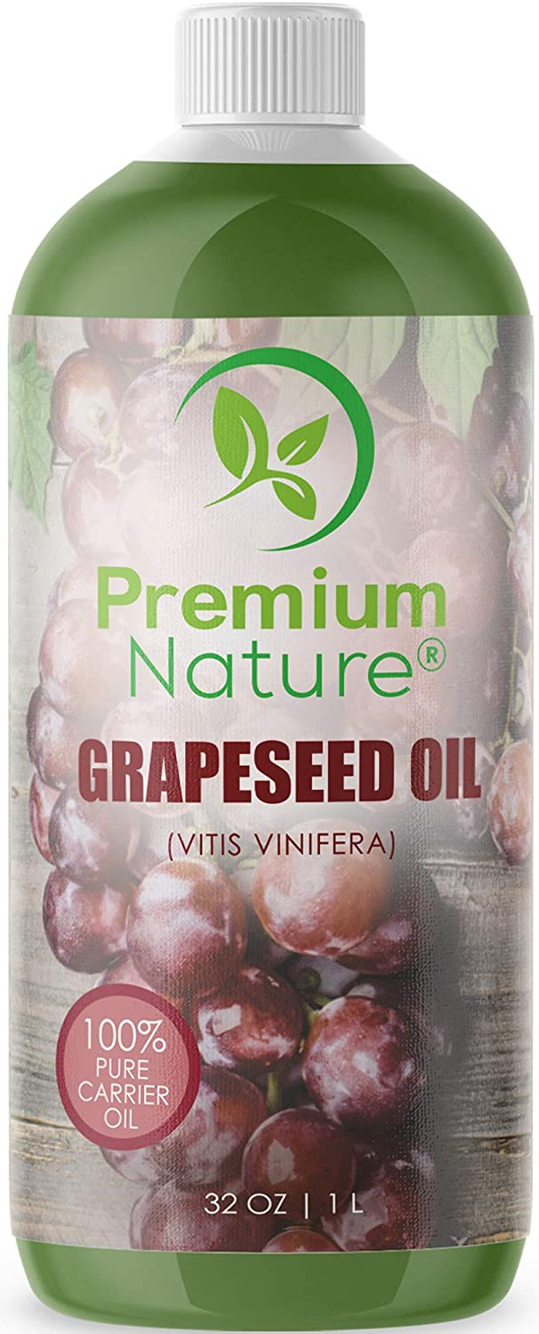 Grapeseed Oil Pure Carrier Oil - Cold Pressed Grape Seed Extract Oil for Essential Oils Mixing Natural Skin Moisturizer Body & Face Massage Lotion for Aromatherapy Nails and Hair Growth 32 oz