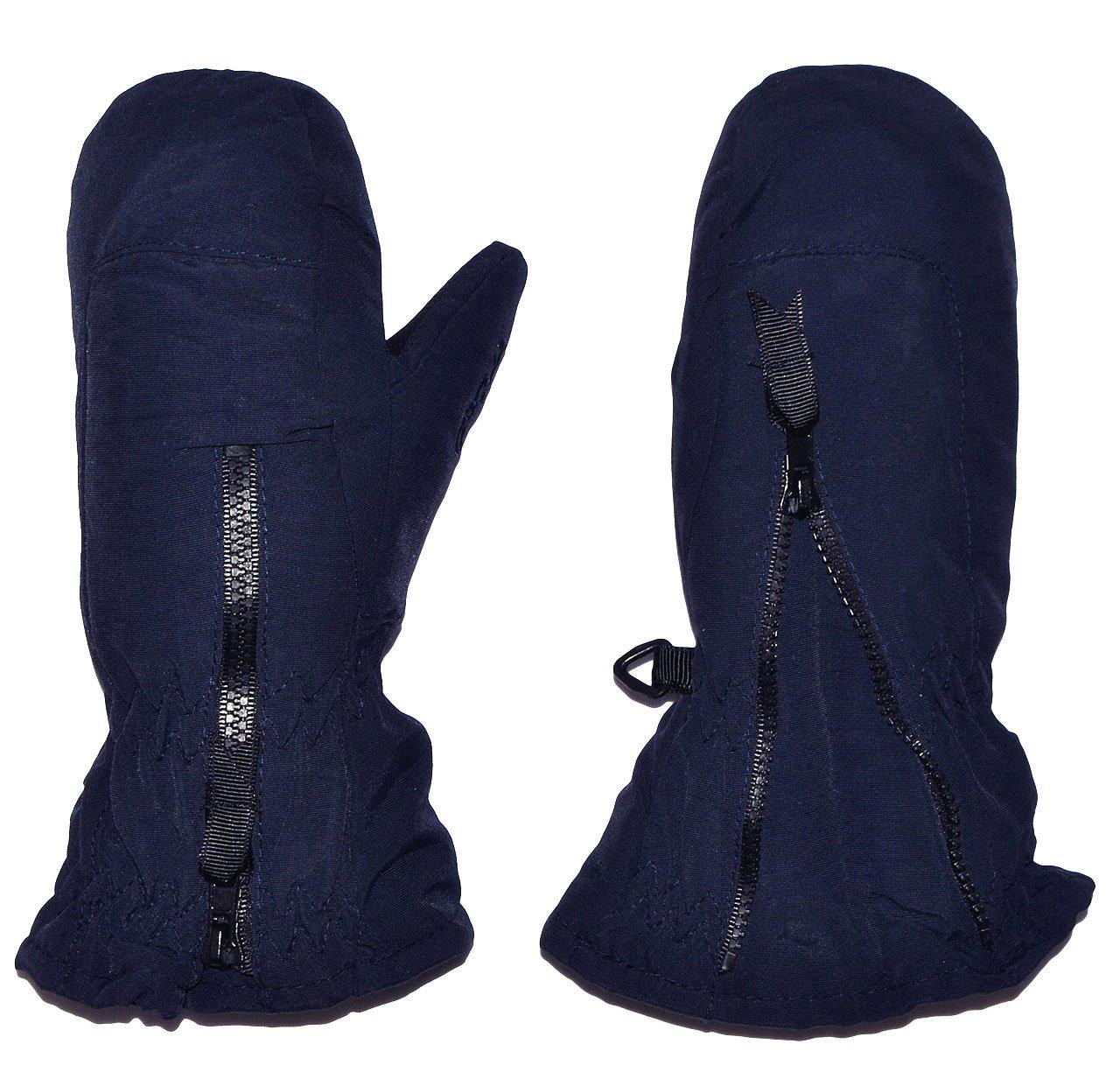 Unbekannt Fausthandschuhe - dunkel blau - mit langem Schaft - Größe: 1 bis 2 Jahre - Reißverschluß - leicht anzuziehen - Thermo gefüttert Thermohandschuh - Fausthan.. Kinder-Land
