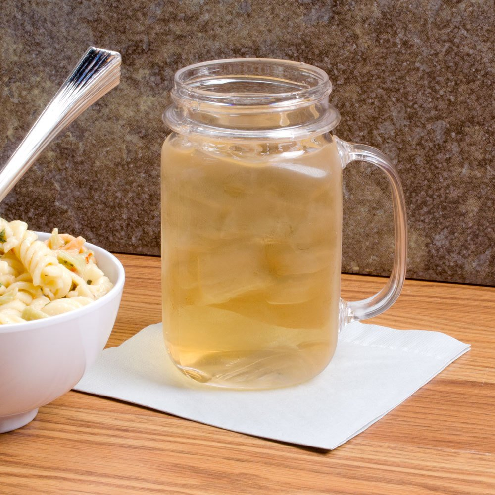 GET MAS-3 CL 16 oz. Clear Polycarbonate Mason Drinking Jar with Handle - 24/Case by GET SW (Image #6)