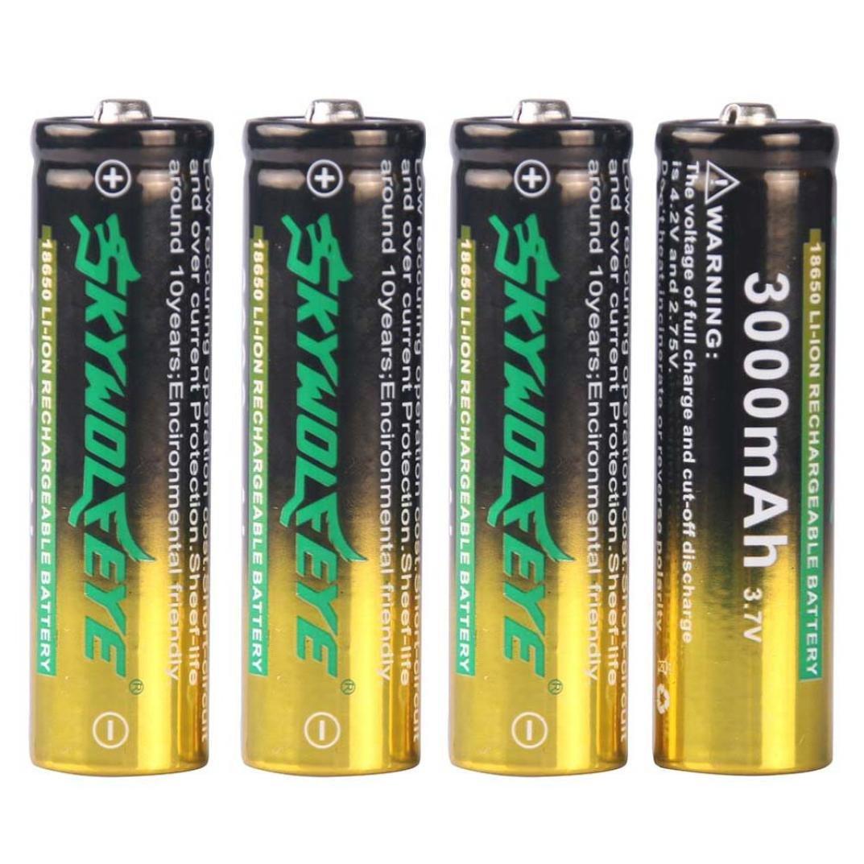 Bescita 4 Stück 3000mAh Li-ion 3.7V Akku 18650 wiederaufladbare Batterie für Taschenlampe Lampe Fackel