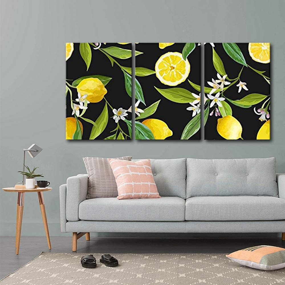 wall26 - 3 Piece Canvas Wall Art - Vector - Seamless Pattern. Lemon Fruits Background. Floral Pattern - Modern Home Art Stretched and Framed Ready to Hang - 16