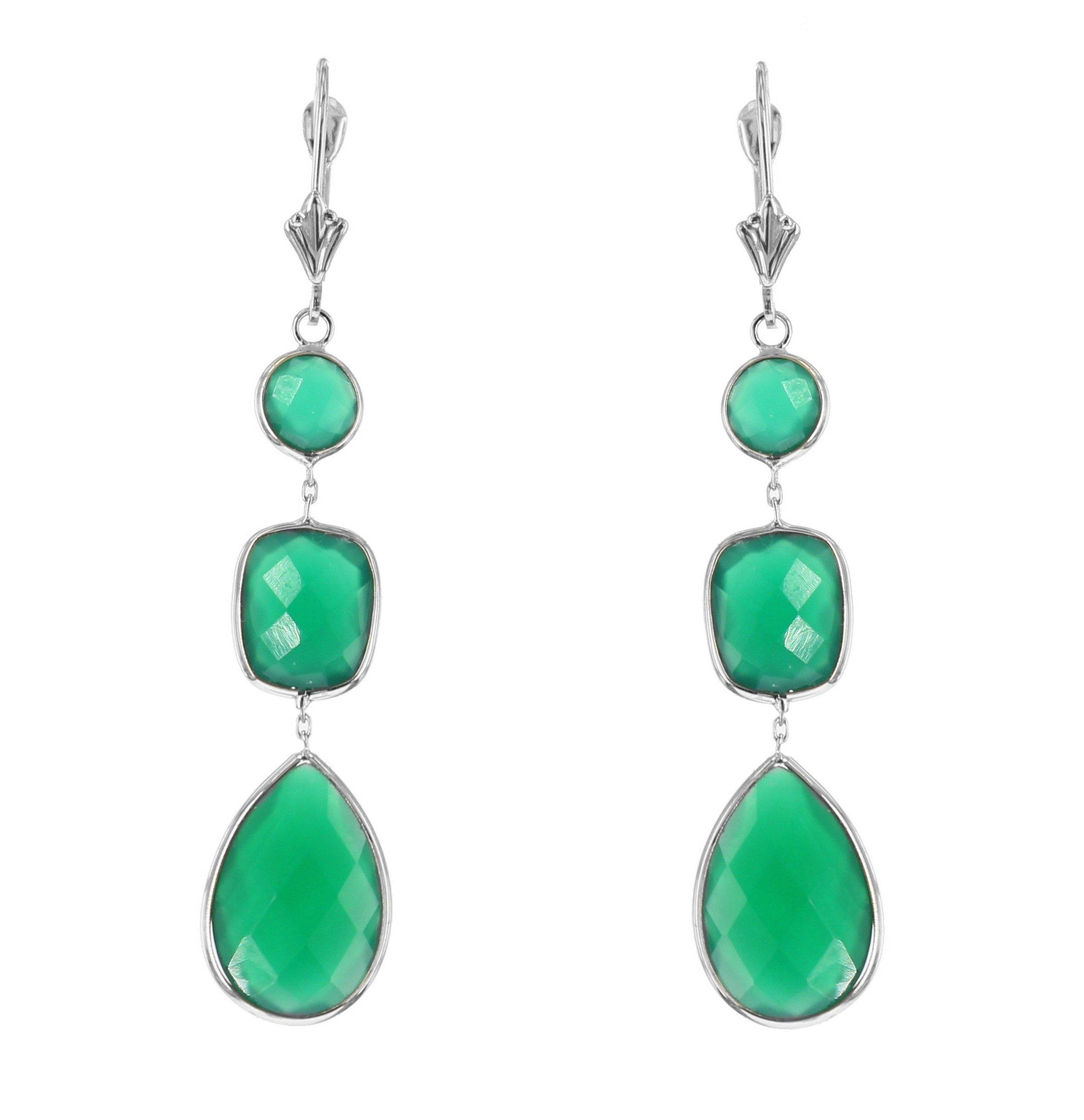 14k White Gold Gemstone Earrings With Dangling Green Onyx