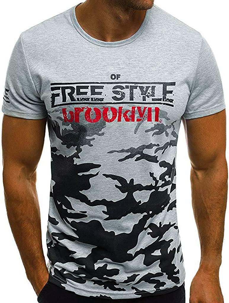 Mens T Shirt Mens Summer Slim Casual Letter Print Camouflage O-Neck Fit Short Sleeve Top Blouse