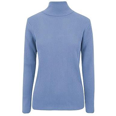 VR7 Femmes Polo Manches Longues Haut Col Roulé Tricot Côtelé Pull - Bleu  Ciel 78b2bbae6ae