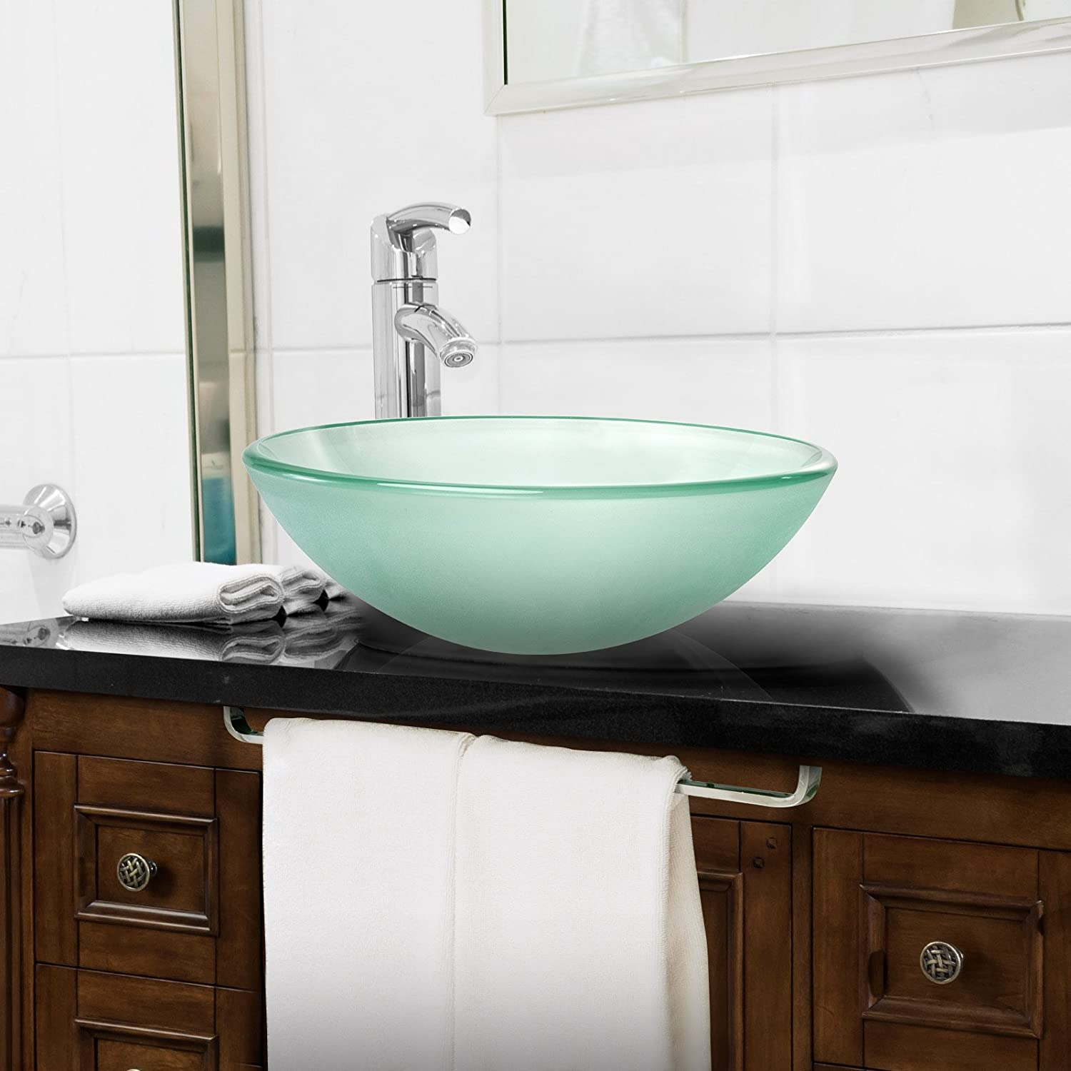 Bathroom vanity bowls - Miligor Modern Glass Vessel Sink Above Counter Bathroom Vanity Basin Bowl Round Frosted Amazon Com