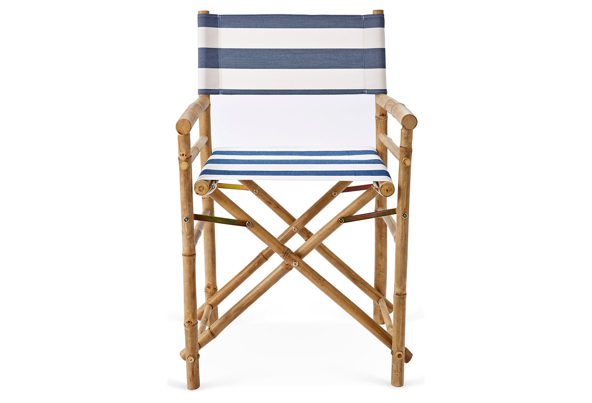Zew Hand Crafted Foldable Bamboo Director's Chair with Treated Comfortable Striped Canvas, Set of 2 Folding Chairs, Navy/White by Zew