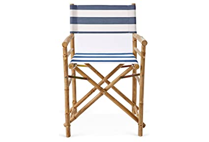 Beau Zew Hand Crafted Foldable Bamboo Directoru0027s Chair With Treated Comfortable  Striped Canvas, Set Of 2
