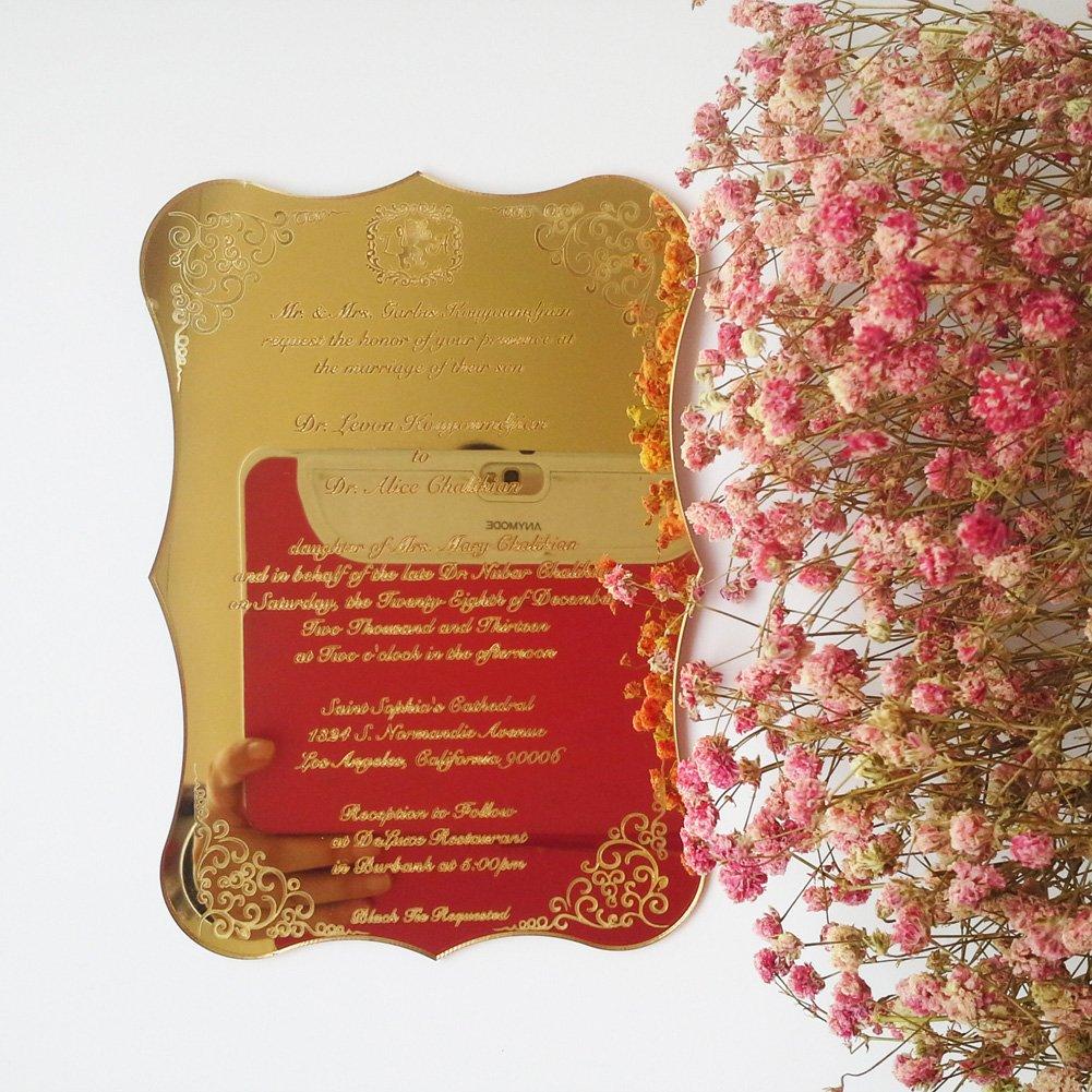Amazon.com : Golden Mirror Acrylic Wedding Invitation Card 5X7inch ...