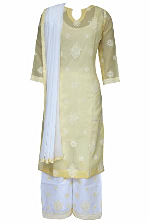 5c40f04eb5 ADA Stylish Lucknow Chikan Ethnic Yellow Cotton Salwar Suit Dupatta With  Fancy Embroidered Motifs A132059: Amazon.in: Clothing & Accessories