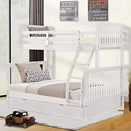 Harper Bright Designs Twin Over Full Bunk Bed With Ladders And Two Storage Drawers White