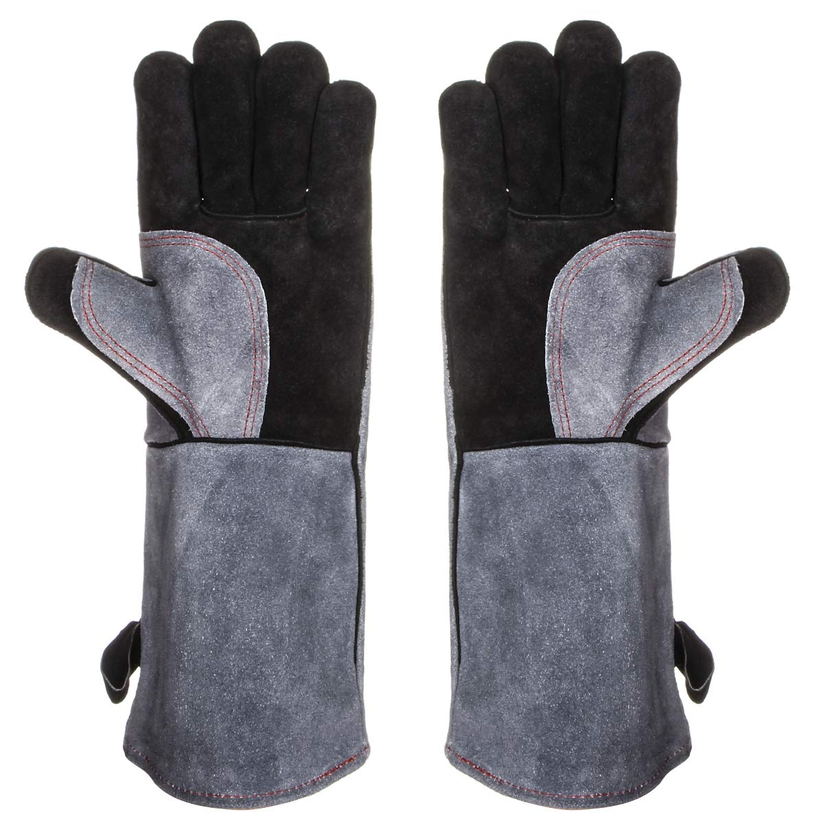 """16"""" Welding BBQ Gloves with Kevlar Stitching, 932°F Extreme Heat Resistant Leather Oven Mitts for Fireplace, Wood Stove, Oven, Tig Welder, Grilling, Welding, Barbecue, Mig, Pot Holder, Animal Handling"""