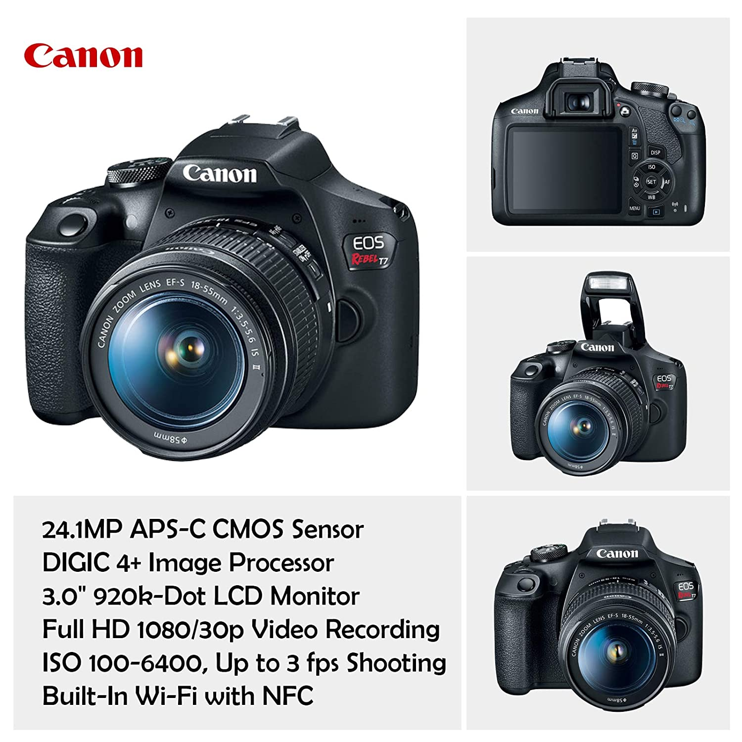 Canon EOS Rebel T7 Camera w/Canon EF-S 18-55mm is II Lens & 75-300mm f/4-5.6 III Lens + 32GB Sandisk Memory + Canon Case + High Speed Slave Flash + ...