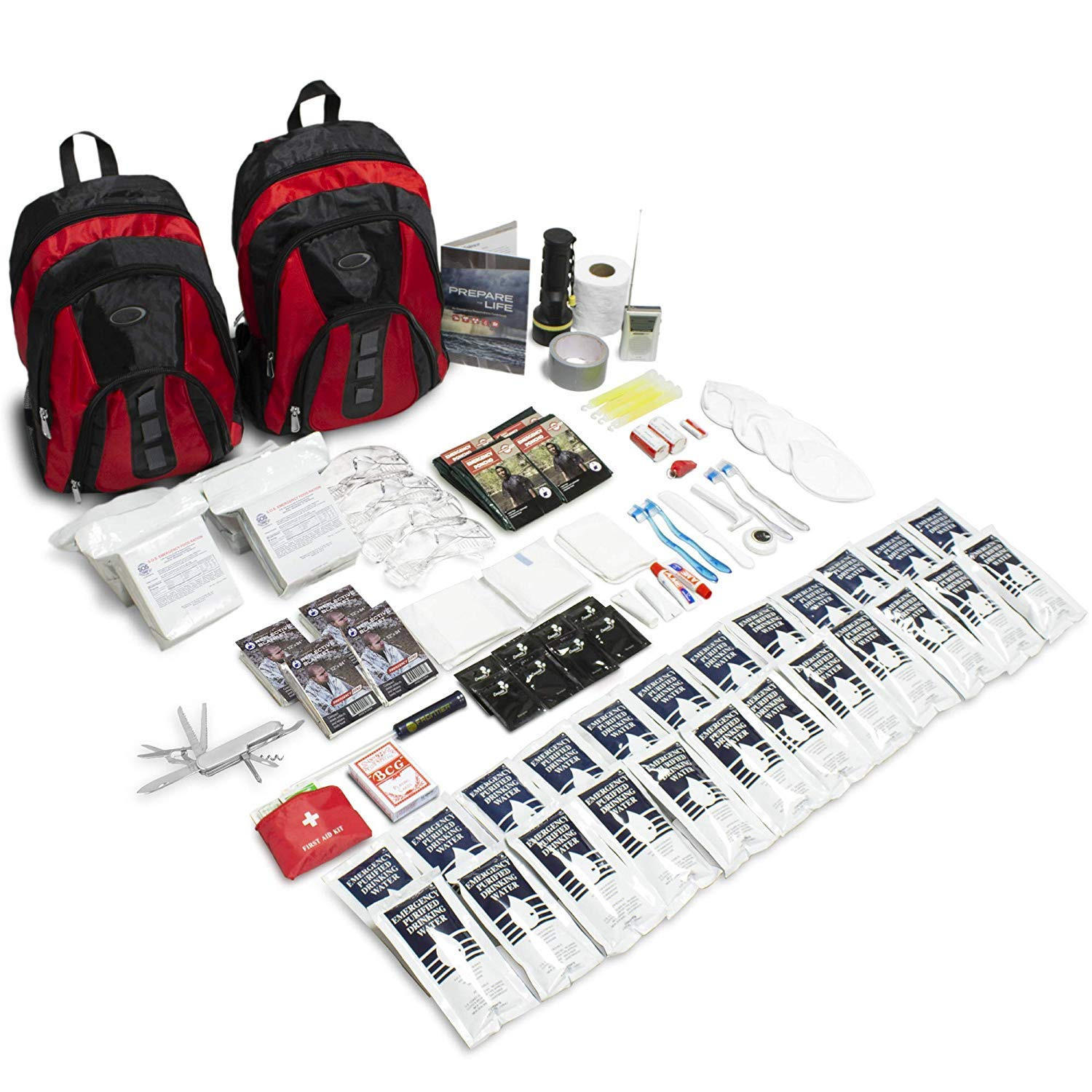 Emergency Zone The Essentials Complete Deluxe Survival 72-Hour Kit, Prepare Your Family for Hurricanes, Earthquakes, FLOODS, Emergency Disaster Go Bag- Available in 2 & 4 Person, Red or Black Bag by Emergency Zone