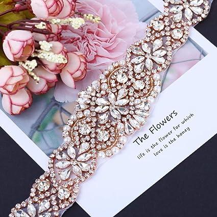 23.4 Inches Wedding Dress Bridal Sash Belt Rhinestone Applique with Pearls Crystal  Beaded Iron on Rhinestone 0ccb839da81b