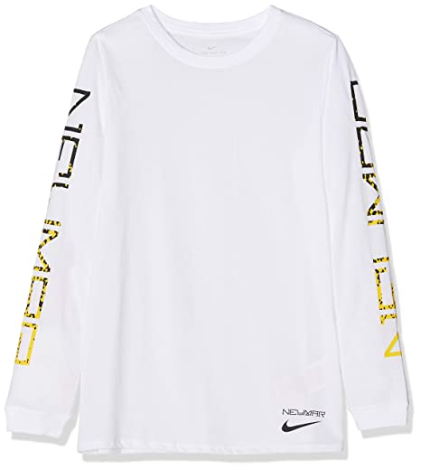 4707bf9ed Amazon.com : Nike 2018-2019 Neymar Academy Dry LS Tee (White) - Kids ...
