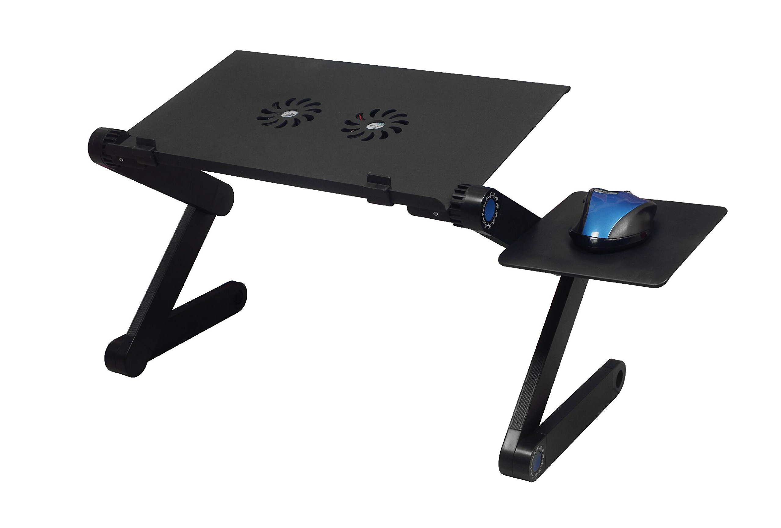 MOMMY FROG DESK (BLACK) w/ double fans - Affordable standing desk, Folding camping desk, Portable table, Breakfast tray, Adjustable reading stand, Cook book stand, Ergonomic desk, Boost productivity