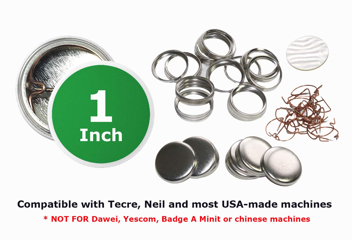 1 Inch Diameter Pin Buttons Sets for Badge Making Metal Parts Backpins 250 Pack