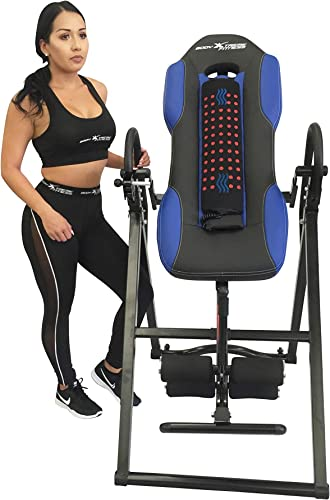 Body Xtreme Fitness Advanced Heat and Massage Therapeutic Inversion Table with Bonus Cooling Towel, Large XJ-I-12TL Blue