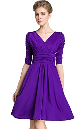 Medeshe Womens Cadbury Purple Ruched Waist Classy V-Neck Bridesmaid Dress (US ...