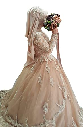 f98a7e092295 Dreammade Women S Halter Long Sleeve Full Length Ball Muslim Wedding