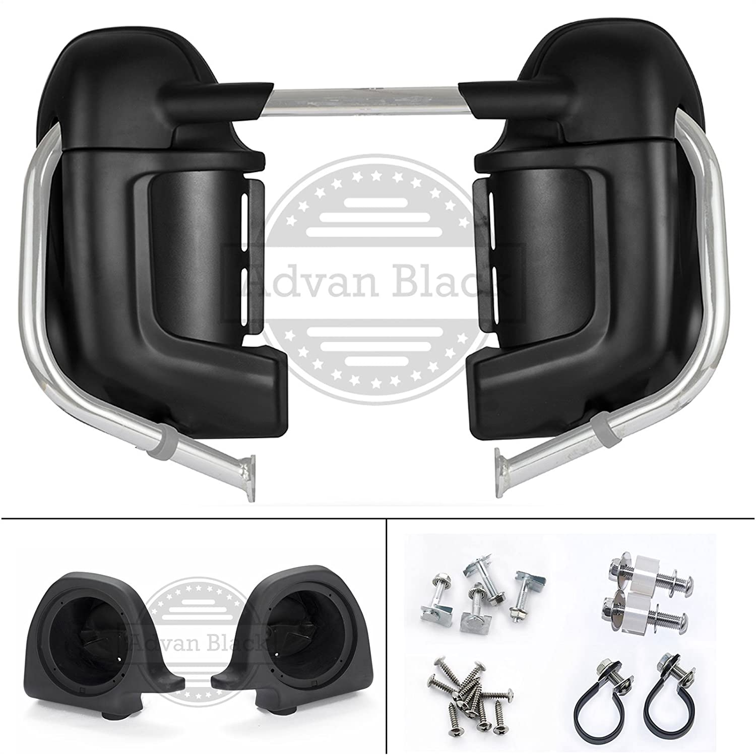 Advanblack Big Blue Pearl Lower Vented Fairings Kit with 6.5 Inch Speaker Box Pods Fit for Harley Touring Street Glide Road King Electra Glide 1983-2013