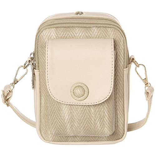 303dcd4ee Cell Phone Purse Wallet With Earphone Hole Synthetic Leather Small  Crossbody Bags For Women(Beige