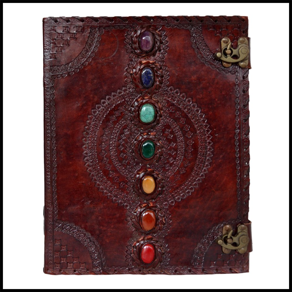 Seven Chakra Leather Journal Book Medieval Stone Embossed Handmade Antique Notebook Office Diary College Book Poetry Book Sketch Book 10 x 13 Inches for Men and Women