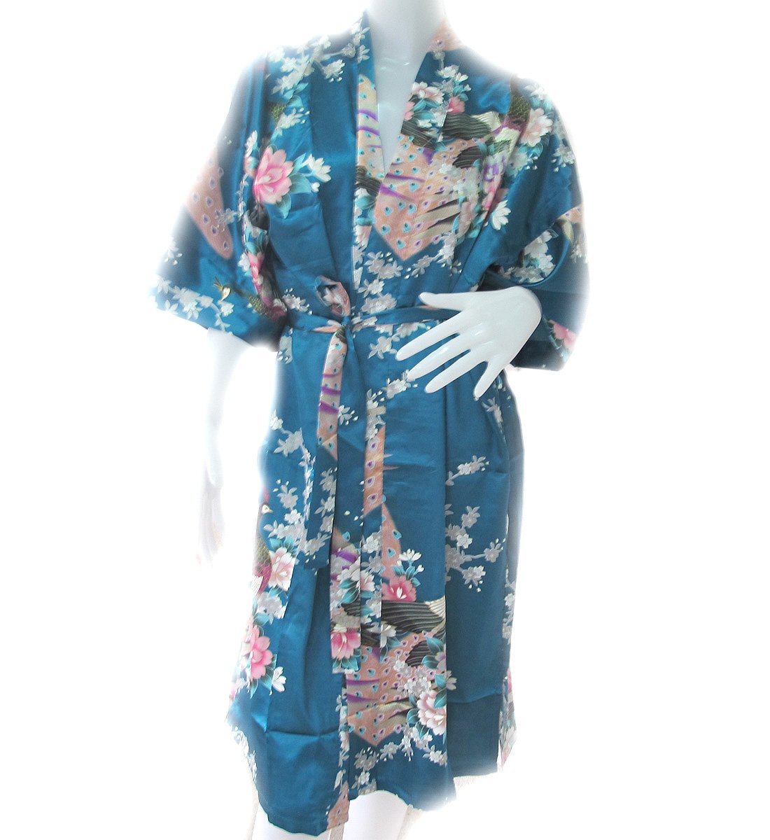 Beautiful and Cool!! Peacock Kimono Women's Satin Silk Robe - One Size