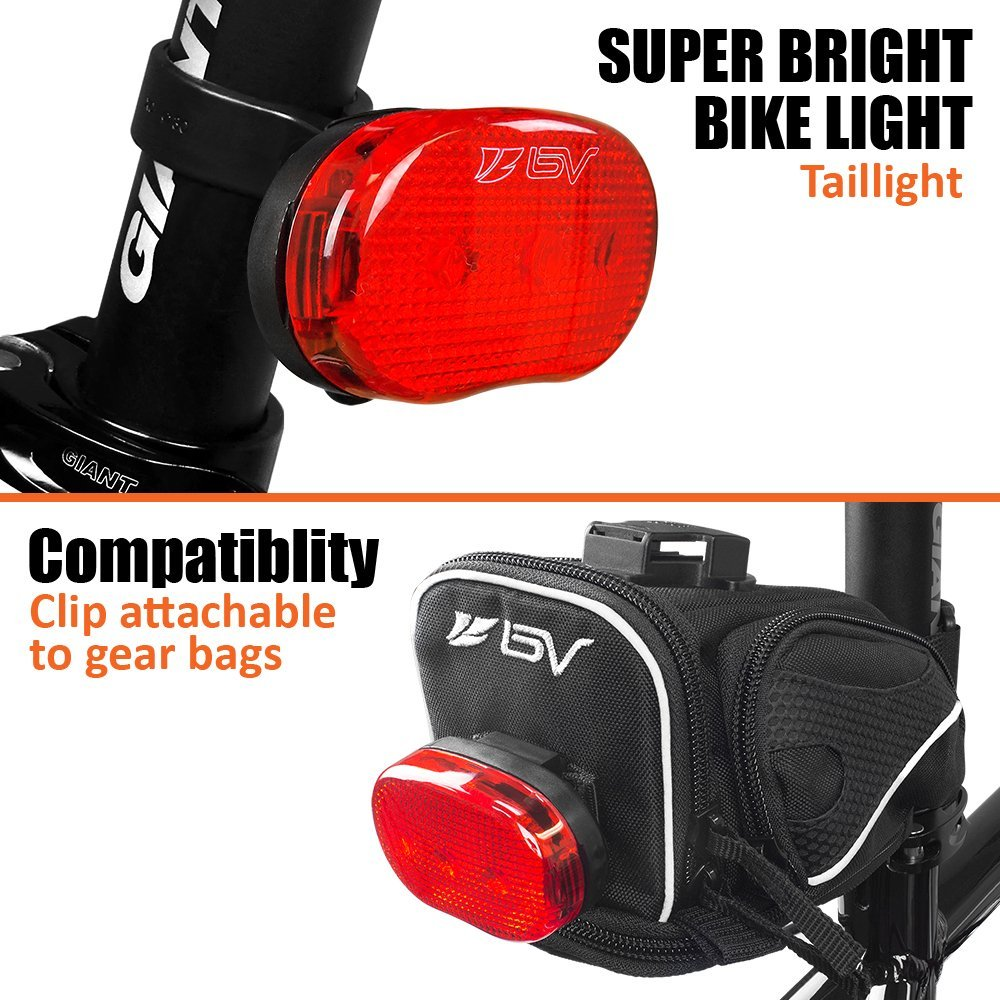 Easy to Install for Cycling Safety Flashlight BV Rear Bike Tail Light 2 Pack Bicycle LED Rear Lights