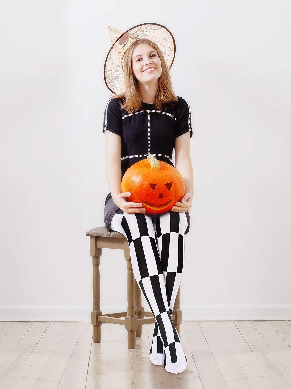 2 Pares de Medias a Rayas de Halloween de Mujeres Pantimedia Legging Medias Blanca y Negra