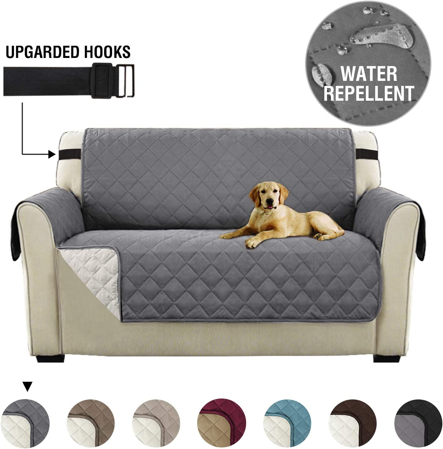 Sofa Slipcover Reversible Sofa Cover 2 Seater Furniture Protector Cover with Adjustable Elastic Straps, Seat Width Up to 46
