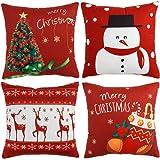 WLNUI Christmas Pillow Covers 18x18 Soft Velvet Merry Christmas Tree Snowman Deer Sock Decorative Throw Pillow Covers…