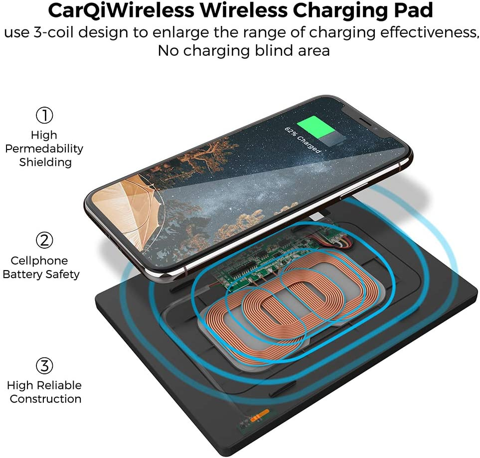 CarQiWireless Wireless Charging Pad for Toyota Camry Accessories Wireless Charger Anti-slip 3 Coils Console Center Wireless Panel for Any Qi Enable Phone Standard Charging for 2018 2019 2020 Camry