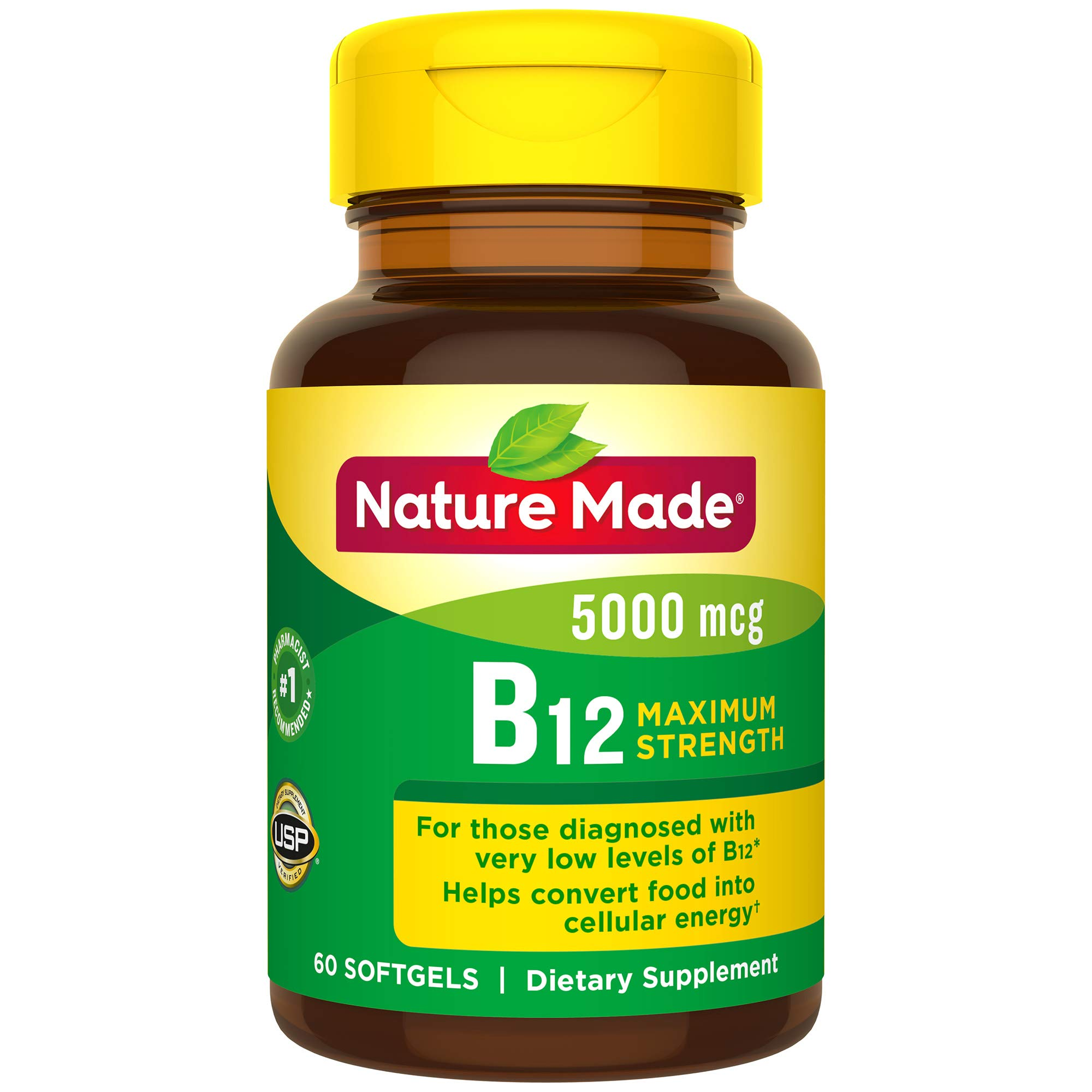 Nature Made Maximum Strength Vitamin B12 5000 mcg Softgels, 60 Count (Packaging May Vary) by Nature Made