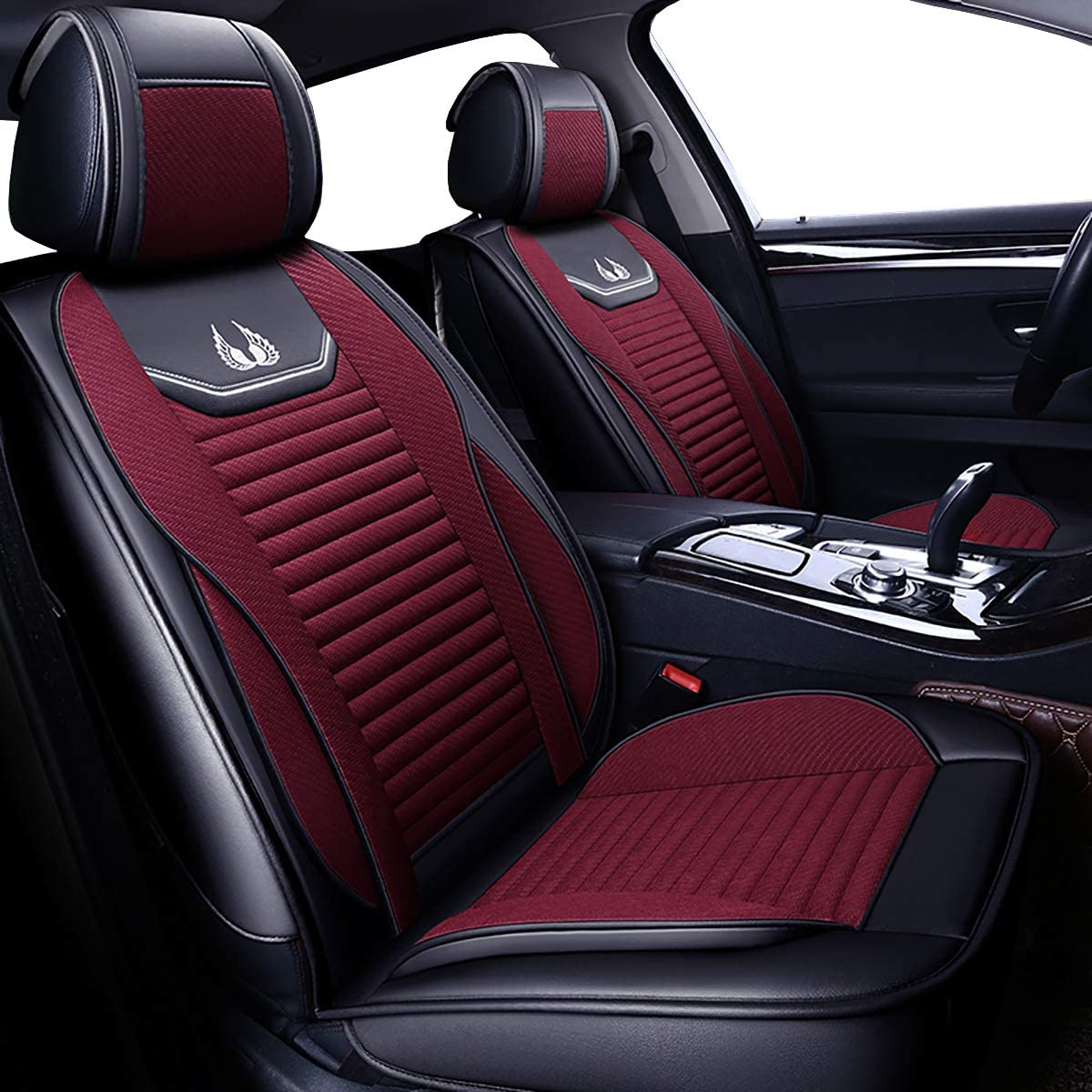 Faux Leatherette Automotive Vehicle Cushion Cover for Cars SUV Pick-up Truck Universal Fit Set Auto Interior Accessories 008 Front Pair, Burgundy OASIS AUTO Leather/&Fabric Car Seat Covers