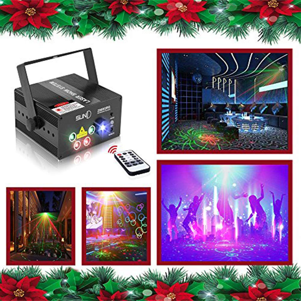 Laser Lights Led Projector,80 Patterns RG Laser DJ Stage Lighting,5 Sources Apertures Lens Red and Green Show With Blue Auto Sound Activated, Best For Disco/Wedding/Birthday/Family Party/ Clubs etc by SUNY