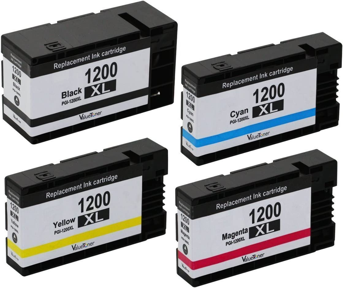 Black, Cyan, Magenta, Yellow, 4-Pack HIINK Compatible Ink Cartridges for Canon PGI-1200 PGI-1200XL use with MAXIFY MB2020 MB2320 MB2120 MB2720