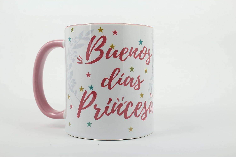 Taza de cerámica desayuno decorada personalizada regalo Buenos días princesa amor enamorados taza con asa e interior rosa