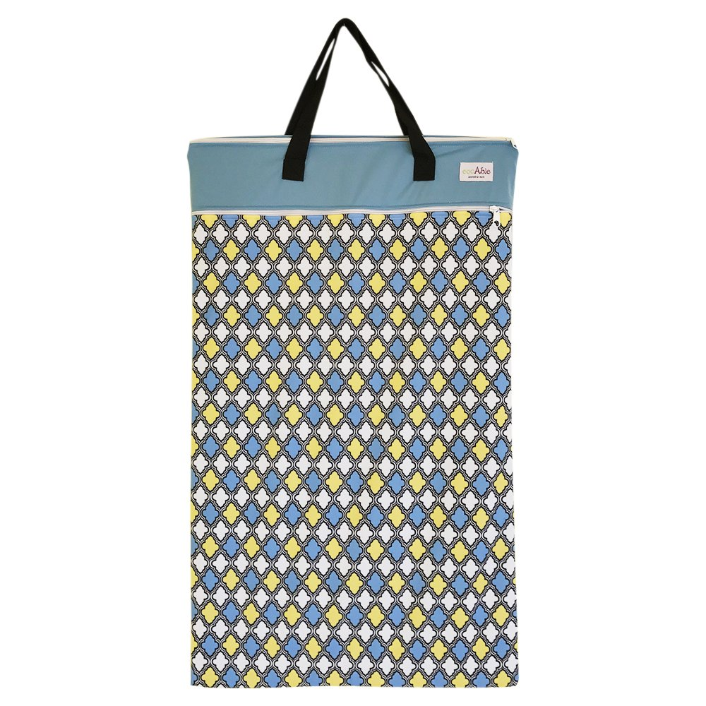 EcoAble Large Wet Dry Bag for Baby Cloth Diapers Storage or Laundry (Damask)