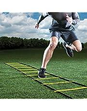 GHB 6M Scala Agilità Scaletta per Allenamento Calcio Esercizio velocità Fitness 12 Piolo con Custodia Portatile Regolabile - Giallo